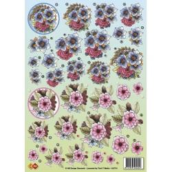 3D A4 Knipvel kleine bloemen