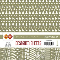 Card Deco - Designer Sheets -  Christmas Edition - olijfgroen